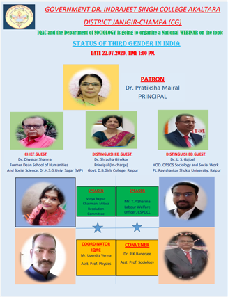 IQAC Activity: National Webinar on Status of Third Gender in India