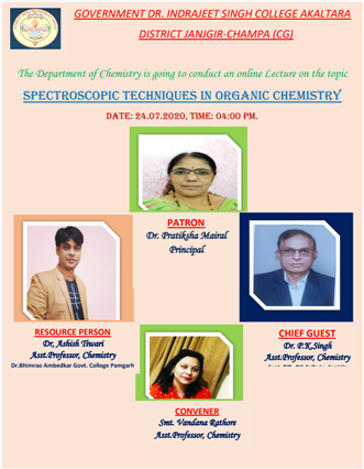 IQAC: Online Lecture on Spectroscopic Techniques in Organic Chemistry