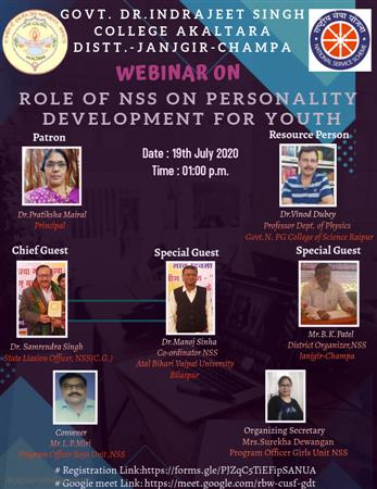 National Webinar on Role of NSS on Personality Development for Youth